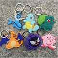 2types Hot Anime Pokemon keychains Pokemon Pocket Monster figure toys pvc keychain pendant 6Pcs/Set and 8Pcs/Set