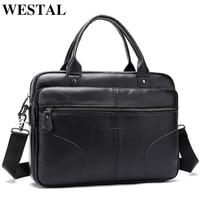 WESTAL Men's briefcase genuine leather messenger bag men's shoulder bag satchel laptop business leather bags for documents 8626