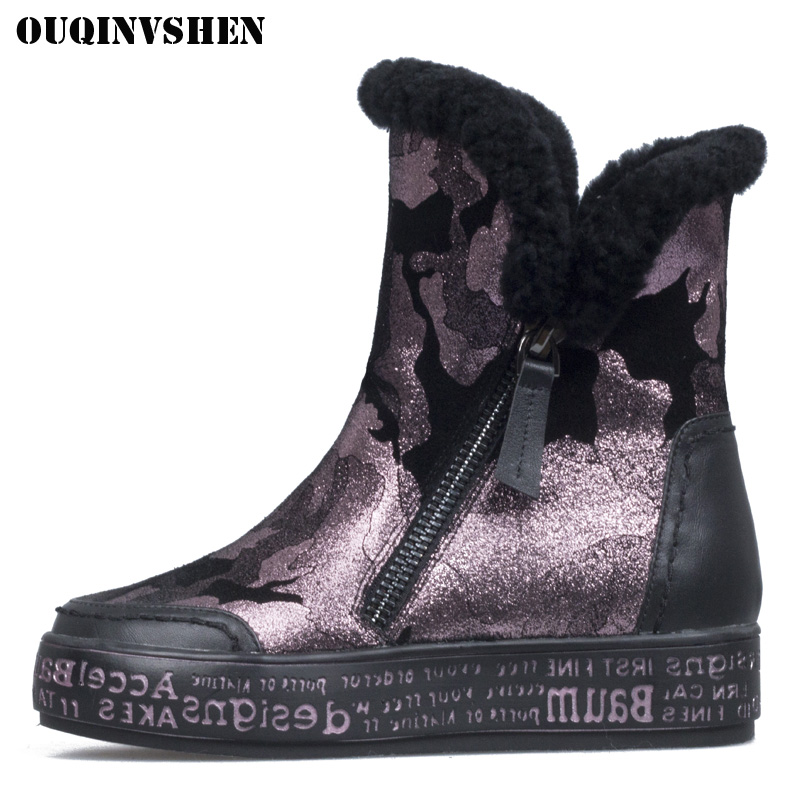 OUQINVSHEN Round Toe Flat Women Snow Boots Winter Wool Plush Ladies Ankle Boots Camouflage Print Zipper Women Snow Boot Shoes winter woman boots lace up ladies flat ankle boot casual round toe women snow boots fashion warm plus cotton shoes st903