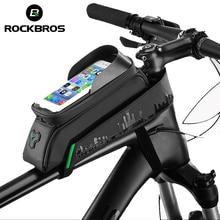 ROCKBROS велосипедная сумка передняя Труба велосипедная сумка для телефона с сенсорным экраном седельная сумка Водонепроницаемая велосипедная Рама 5,8/6 дюймов MTB сумка аксессуары