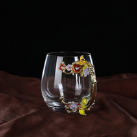 DHD Brand Glass Mugs With Spoon And Mats For Lovers Gift Luxury Drinking Cups With Flower