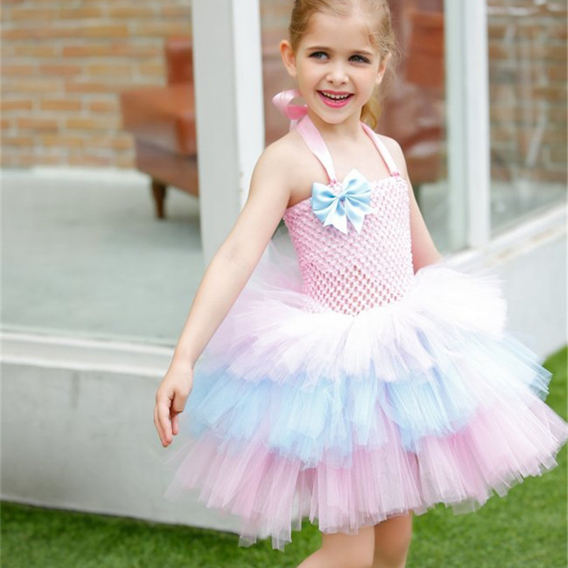 Cute Girls Layered Dress Tulle Tutu Dress Pink Princess Flower Girl Dresses For Kids Birthday Party Pageant Wedding Ball Gown girl navy blue princess dress kimono dress cute princess tutu dress