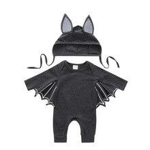Комбинезон+ шляпа, комплект из 2 предметов, Одежда для новорожденных на Хэллоуин, комплекты костюмированных костюмов для маленьких мальчиков и девочек на Хэллоуин
