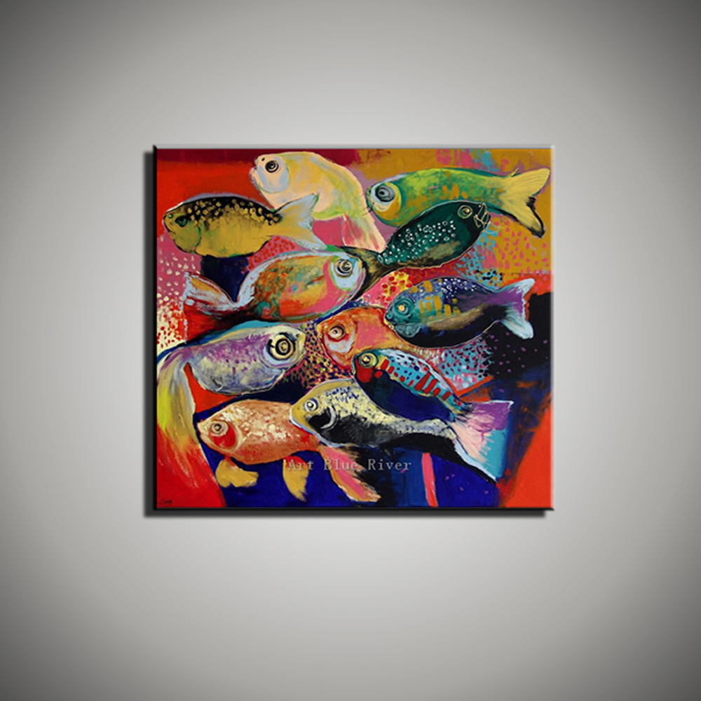 Buy artist supply abstract colorful for Fish paintings on canvas