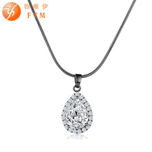 FYM Unique Cubic Zirconia Big white Crystal Necklace & Pendants Silver Color Elegant Wedding Jewelry For Women party fym high quality big white crystal silver color cubic zirconia necklace