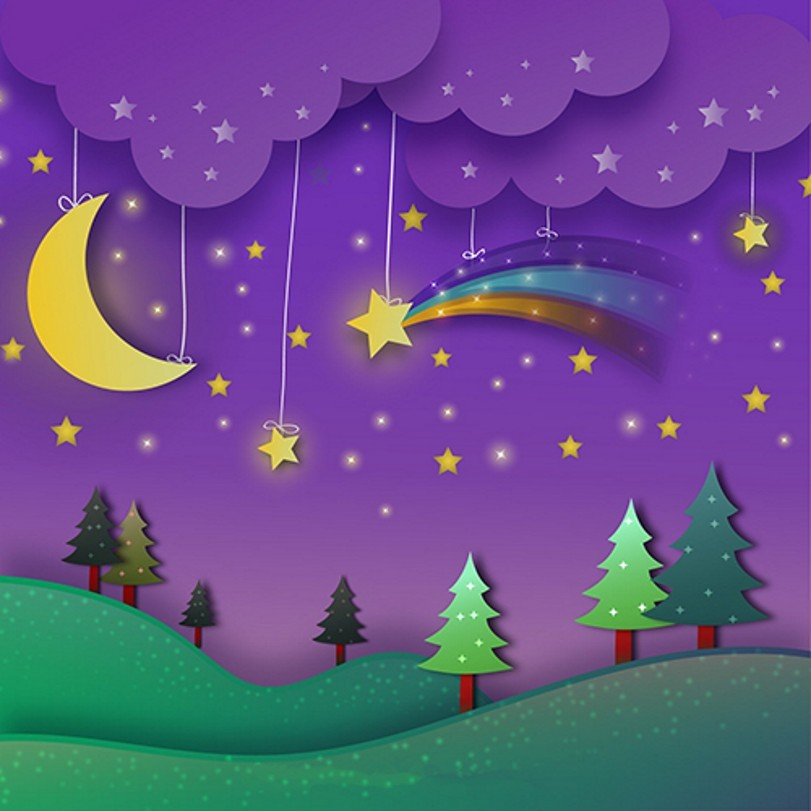 Purple Cloud Rainbow Moon Star Pine Tree Grass Cartoon Forest photo backdrop Vinyl cloth Computer printed wall Backgrounds