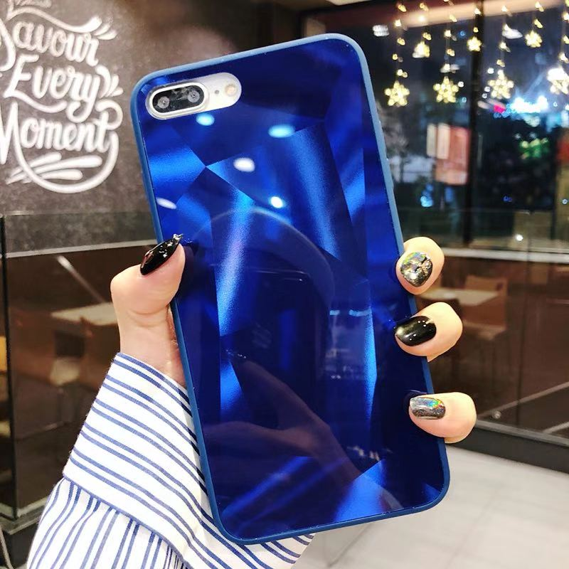 Mirror Bling Diamond On for iphone XS MAX XR X XS Luxury Silicone TPU PC Cover for iphone 7plus 8plus 6 6s plus fundas back in Fitted Cases from Cellphones Telecommunications