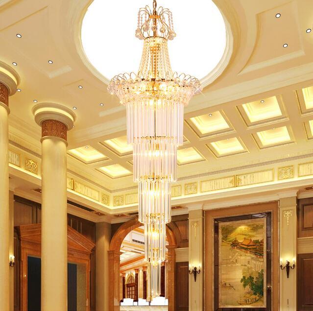 Con buena escalera de cristal luces villas escaleras ingeniería hotel de luces de lámparas de cristal luz ya74 SJ15