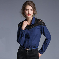 New Long-sleeved Blue Lace Blouse Womens Tops Blusas Femininas 2017 Spring Cotton Women Shirts Camisetas Manga Larga Mujer 73015