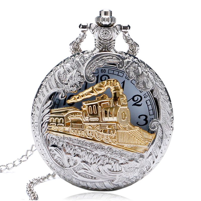 Men Women Free Drop Shipping Silver Gold Railway Locomotive Carving Steampunk Quartz Pocket Watch With Necklace Chain Gift antique gear roma numbers glass dome quartz pocket watch steampunk fob clock with necklace chain men women gift free shipping