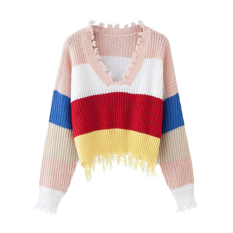 v neck stripe pullover women 2020 casual women's sweater knitted pulover feminino manga longa inverno dropshipping #F#40OT5