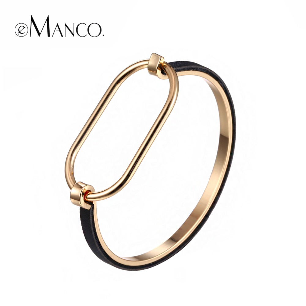 eManco Wholesale Minimalist Punk Bangles Gifts for Women Exaggerate Geometric Metal Skeleton 2018 Bracelets & Bangles Jewelry