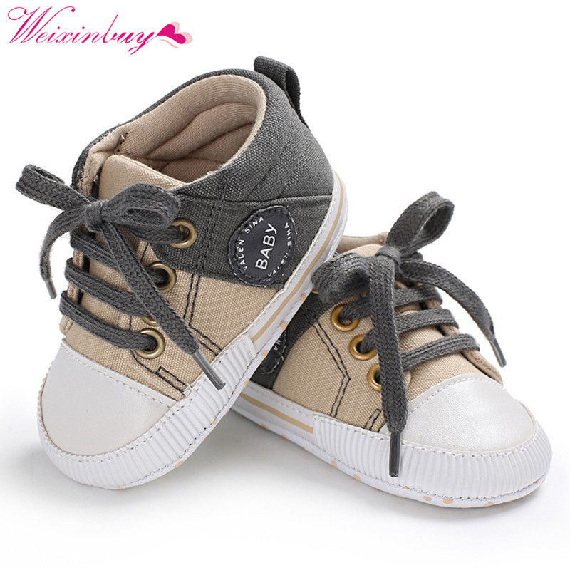 Newborn Baby Shoes Classic Canvas Stitching Baby Boy Shoes Spring First Walkers Baby Girl Shoes Cotton  Playtoday
