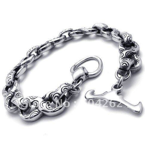 "Jewelry!Free Shipping!316L Die-casting Stainless Steel 8.8"" men's Bracelets 10020483"