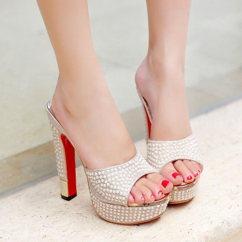 Nuevo 2018 Plataforma de lujo Tacones altos Mujer Zapatillas Cadena - Zapatos de mujer - foto 4