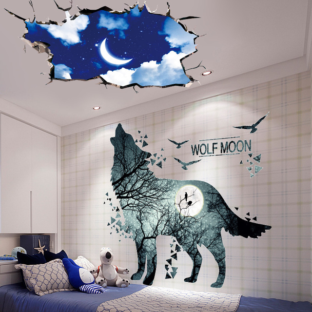 [SHIJUEHEZI] Wolf Animal Wall Stickers Vinyl DIY Night Moon Wall Art for Kids Rooms Living Room Home Decoration Accessories