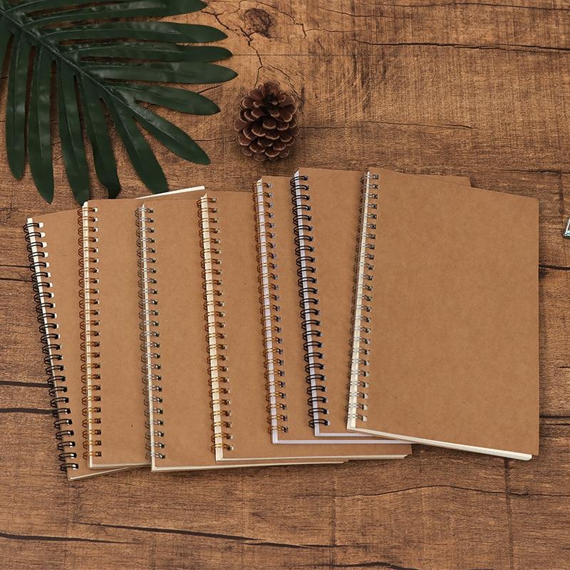 A5 Kraft Abdeckung Vintage Spule Notebook Linie Grid Linie Blank Multi-funktionale Planer Büro Schule Schreibwaren Übung Bekannt Buch