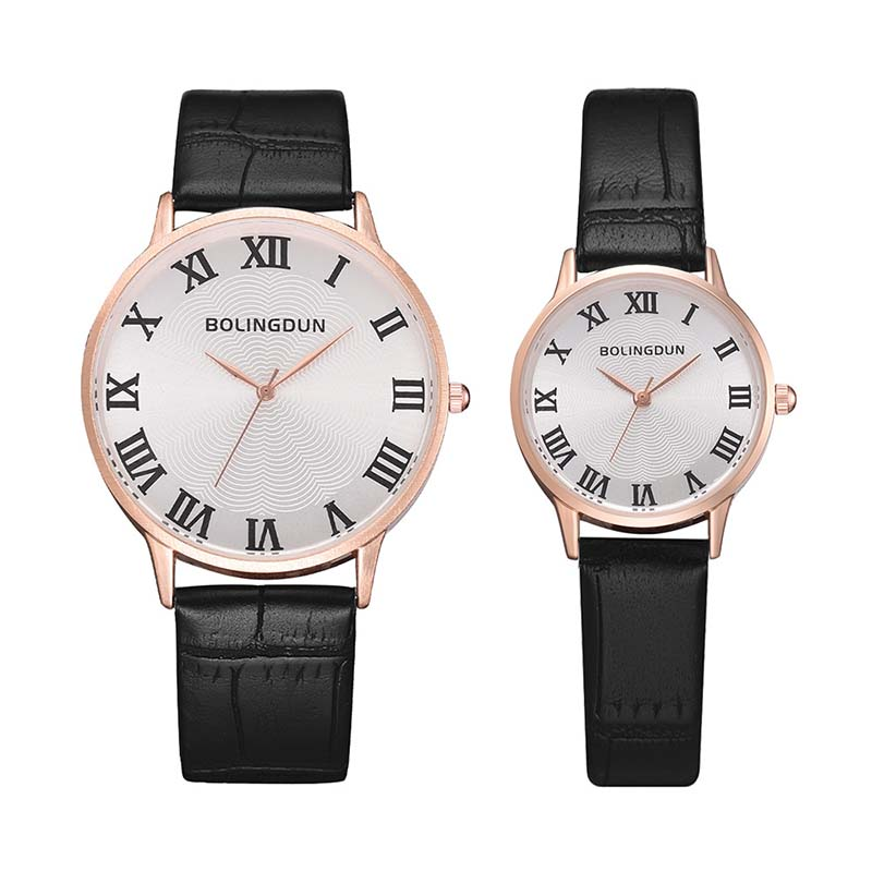 Couple Watches Roman Scale Fashion Unisex Watch Leather Strap Line Analog Quartz Ladies Wristwatches Mujer Lover's Commemorate