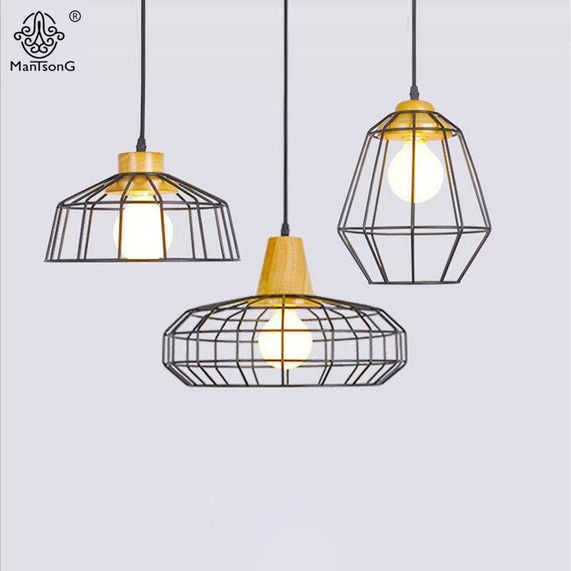 Modern Designer Pendant Light Nordic Style Iron Wooden Creative Kitchen Pendant Lamp Fixture For Dining Room Home Decor Lighting