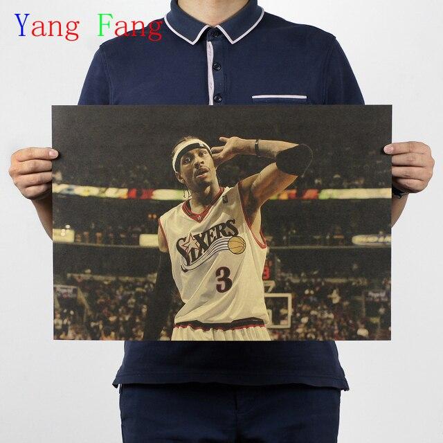 Vintage NBA Basketball Star Classic Allen Iverson Poster Bar Cafe Home Decor Retro Kraft Paper Wall Sticker 50x35cm