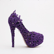 Purple Flower Rhinestone Bridal Shoes High Heels Stiletto Lace Wedding Shoes New Designer Party Shoes Formal Dress Shoes