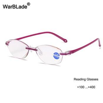 f4b6eb0629 WarBLade nuevo cómodo gafas de lectura ultraligeras sin montura para  Mujeres Hombres lentes transparentes Anti-Blu-Ray gafas presbiópicas para  los padres de ...
