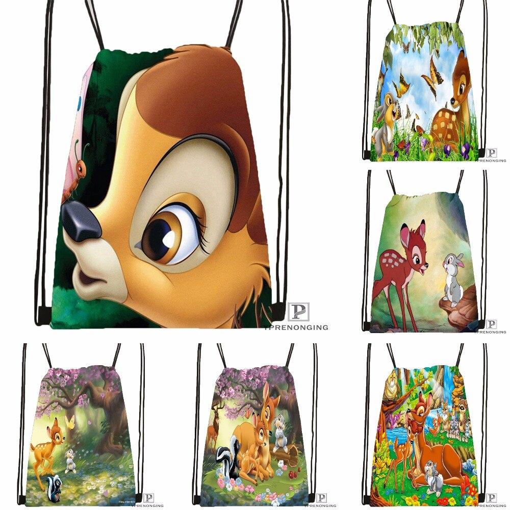 Custom Bambi And Faline Adults Drawstring Backpack Bag Cute Daypack Kids Satchel (Black Back) 31x40cm#180531-03-03