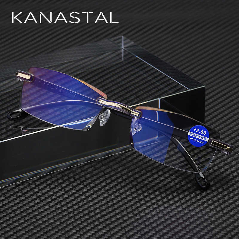 KANASTAL Ultralight Rimless Reading Glasses Women Men Business Anti-Blu-Ray Computer Reading Glasses Presbyopia Reader 1.5 women
