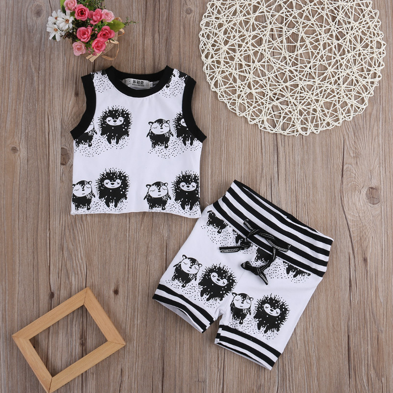Cute Cartoon Hedgehog Baby Clothing Sets Newborn Baby Boys Girls Clothes Sets Top Vest +Shorts 2pcs Outfits Set 0-24M