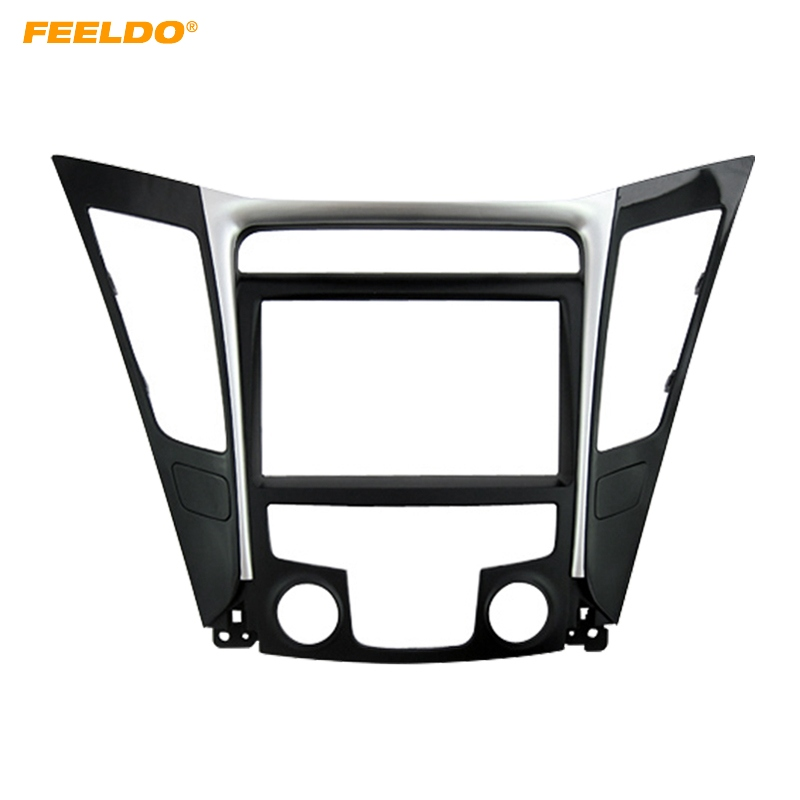 FEELDO Car Refitting DVD Radio 2Din Fascia Frame for Hyundai Sonata YF(LHD & RHD) Stereo Face Panel Dash Trim Kit silver car 2din stereo panel fascia radio refitting dash trim kit for ford focus 98 04 rhd fiesta 95 01 rhd ca5038