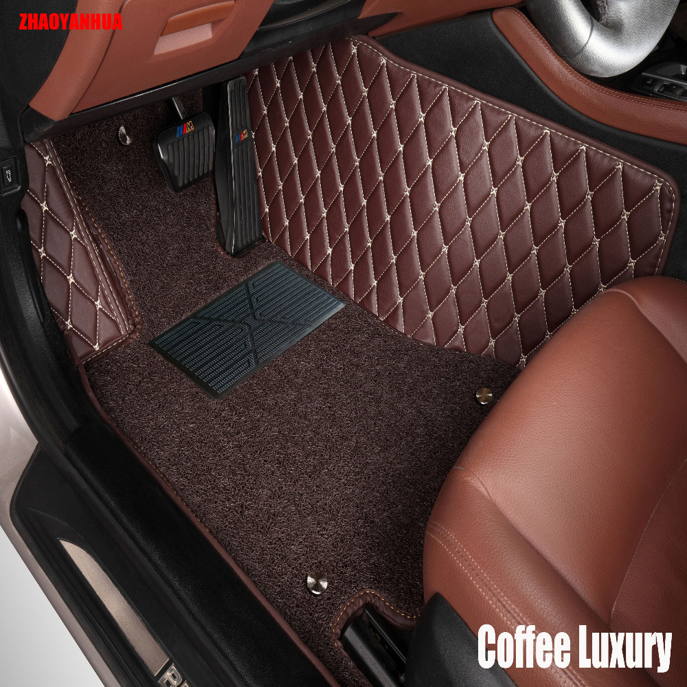 Zhaoyanhua car floor mats for audi a5 sportback s5 a3 a4 a6 a7 a8 a8l q3 q5 q7 6d car styling leather rugs carpet floor liners