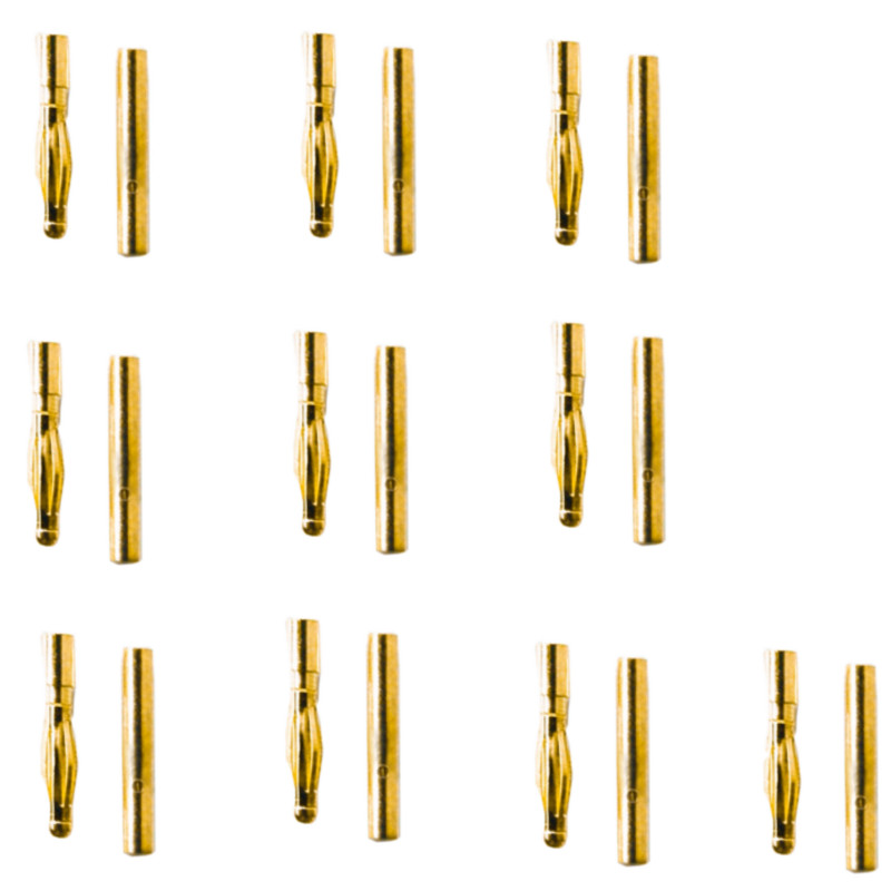 10Pairs/20pcs 2mm Gold Bullet Banana Connector Plug For RC FPV Racing Drone Quadcopter ESC Battery Motor