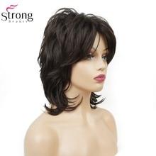 StrongBeauty נשים סינטטי שחור בינוני מתולתל שיער Ombre אובורן/בלונד פאה טבעי פאות