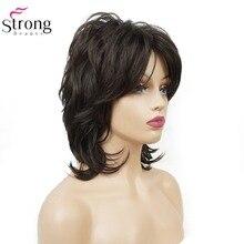 StrongBeauty Parrucca Sintetica delle Donne Nero Medio Capelli Ricci Ombre Auburn/Bionda Parrucca Parrucche di capelli Naturali