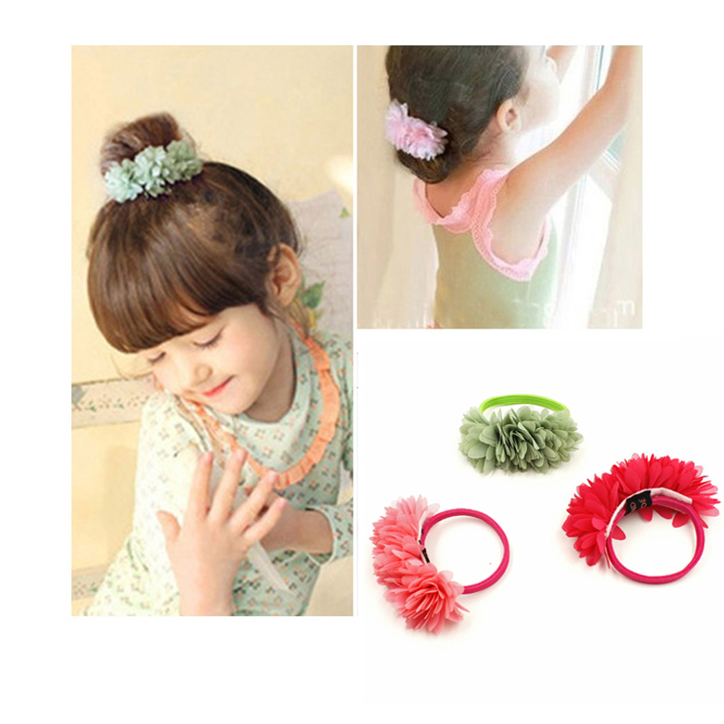 Hot Sale 2017 New Cute Flowers Elastics Hair Holders Bands Gum Fashion Kids Candy Rubber Bands Headwear Girl's Hair Accessories 2015 fashion elastic hair bands for women candy color baby girl kids headbands hair ropes headwear hair accessories 20 colors