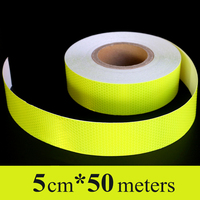 Wholesale 5cm*50m Fluorescent yellow Safety Mark Car stickers PVC Self Adhesive Warning Tape High Visibility Reflective Strips