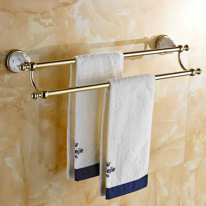 Double golden Towel Bar,Towel Holder,Solid Brass Made,Chrome Finished,Bath Products,Bathroom Accessories