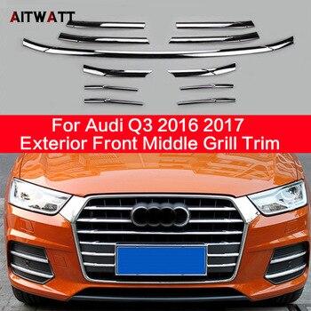 Per Audi Q3 2016 2017 ABS Chrome Esterno Anteriore Centrale Grill Trim Strisce Griglia Streamer Nebbia Struttura Della Lampada Accessori Auto 15 Pz