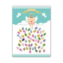 Пользовательское имя, дата Ангел для вечеринки в честь рождения мальчика отпечаток пальцев Подпись Гостевая книга христианское распятье милость День рождения украшения Дети