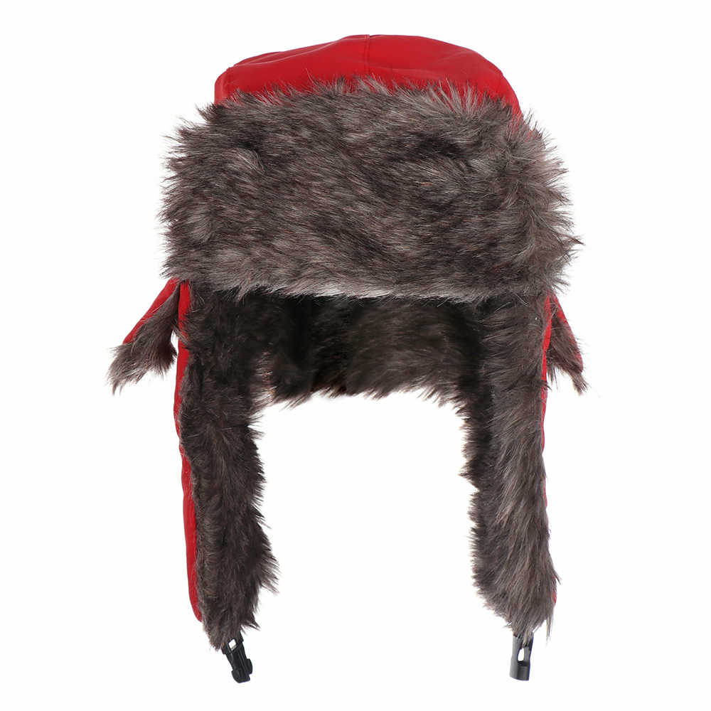 b8817745fd6 ... Men Pilot Trapper Cap Winter Warm Trooper Earflap Russian Ski Snow Hat  Faux Rabbit Fur Bomber