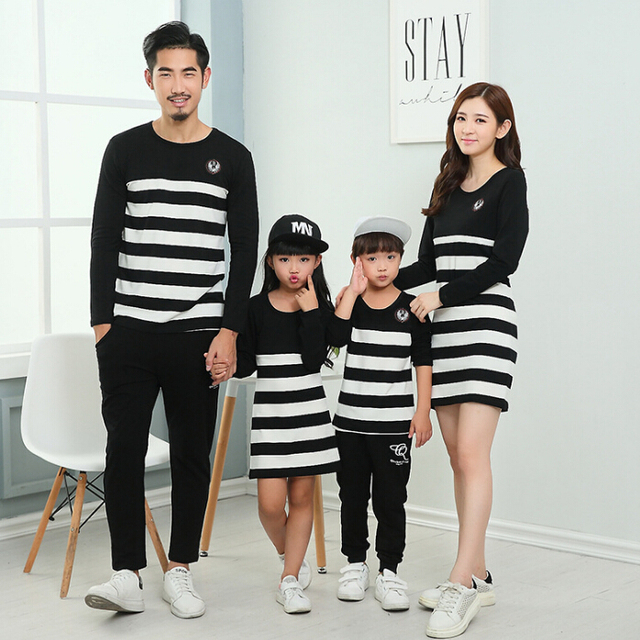 2016 Family Set Striped Mother Daughter Dresses Father Son T shirt Clothes Family Matching Parent-Child Family Clothing QY8
