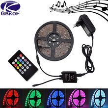 10 M 5 M RGB LED Strip Lampu Tahan Air SMD 5050 3528 2835 Fleksibel Pita Dioda Garis Depan dengan Musik Remote control + DC 12 V Adaptor(China)