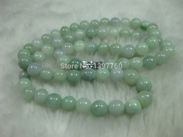 "Miss charm Jew.56 NATURE GRADE ""A"" GREEN 7-8MM JADE BEADS JADEITE NECKLACE"