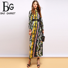 Baogarret Spring Fashion Runway Dress Women's Long Sleeve Loose Belted Striped Floral Print Holiday Vintage Long Dress