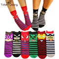 2017 New Unisex 3D Cartoon Printed High Socks Womens Mens Stripes Cotton Sock Femininas Autumn Winter Funny Art Socks