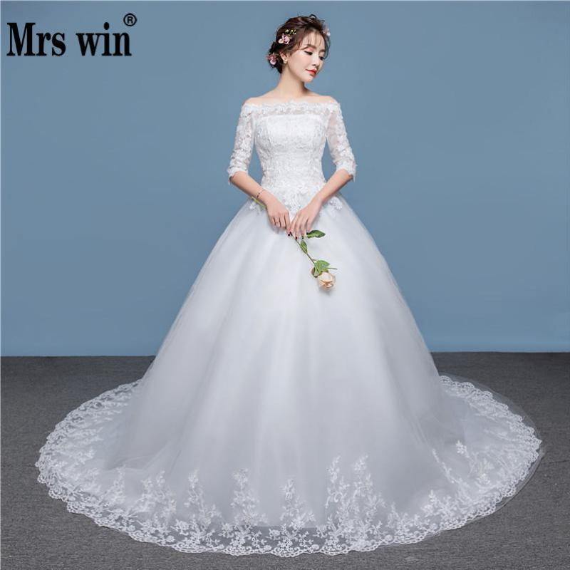 2019 New Arrival Half Sleeve Wedding Dress Lace Boat Neck Sweep Brush Train Lace Up Ball