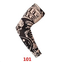Cycling Sports Cooler Summer Fake Tattoo Gloves Arm Sleeve for Men Women UV Sun Protection Nylon Elastic Oversleeve Party Tattoo juqi w09 anti uv tattoo pattern seamless sleeve for cycling black red multi colored 2 pcs
