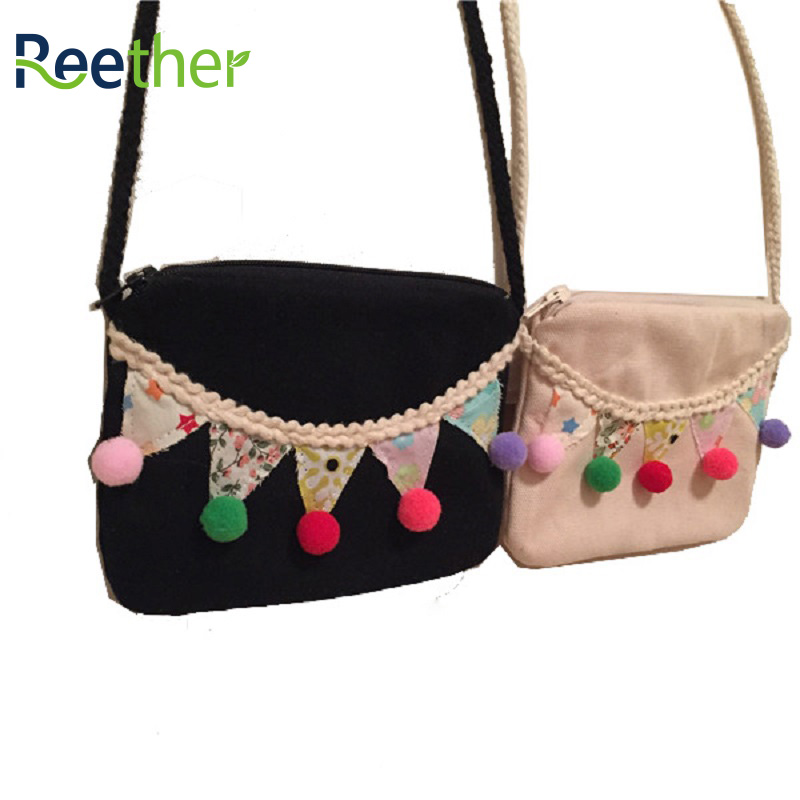 Reether Girl Cotton Mini Bag Cute Candy Plush Ball Coin Pouch Childrens Shoulder Purse Decoration Gifts