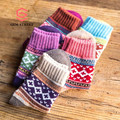 GEM STREET Thick Vintage Knit Harajuku Warm Ankle Socks Men 2 Pair Set Wool Women Winter Ethnic Funny Striped Kpop In Tube Socks