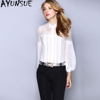 Women's Shirt Spring Summer Blouse 2019 Silk White Shirt Womens Tops and Blouses Vintage Office Lace Blouse Camisas Mujer MY2357